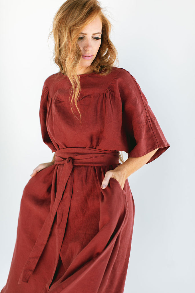 The Ema Dress in Red Pear
