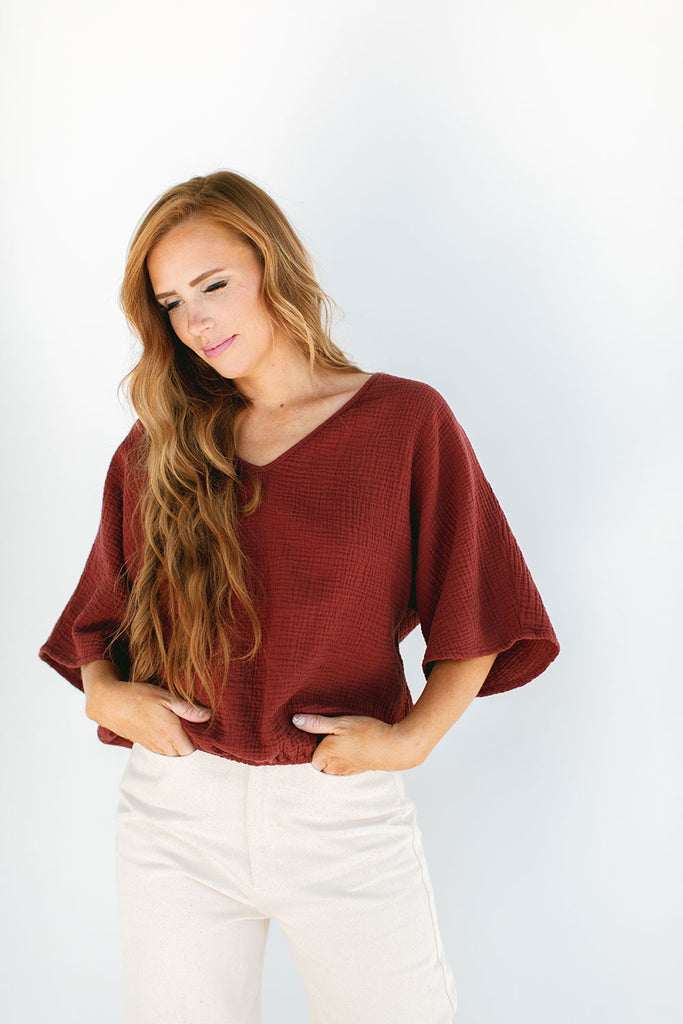 The Gauze Dolman Top in Red Pear (2XL)