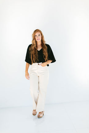 The Gauze Dolman Top in Caviar