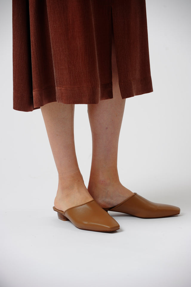 The Melody Mule in Camel Vegan Leather