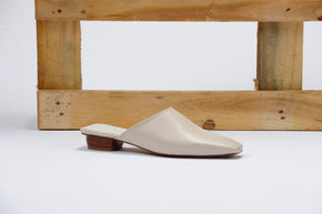 The Melody Mule in Cream Vegan Leather