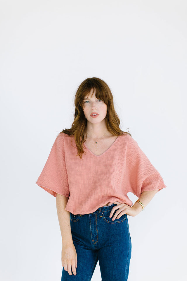 The Gauze Dolman Top in Clay (2XL)