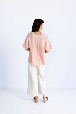 The Cropped Cocoon Top in Pink Sand