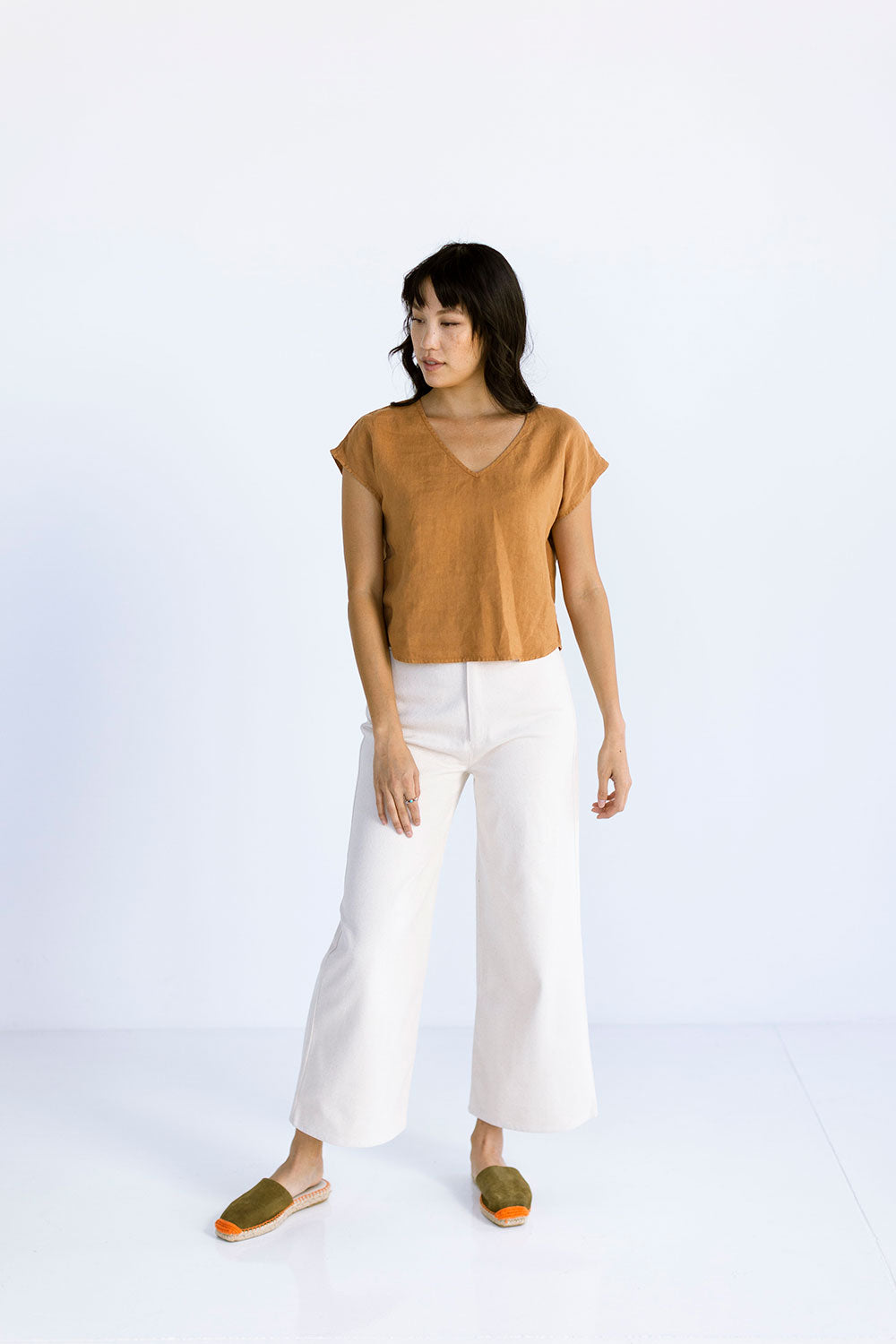 The Linen V Neck in Almond