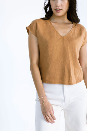The Linen V Neck in Almond (XL) - FINAL SALE, LAST CHANCE