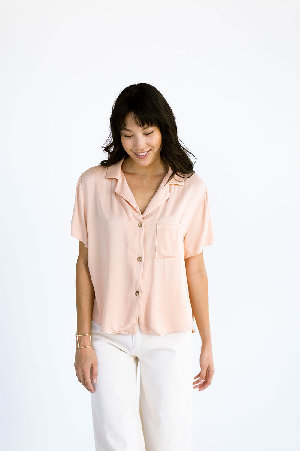 The Button Up Tee in Pink Sand - FINAL SALE, LAST CHANCE