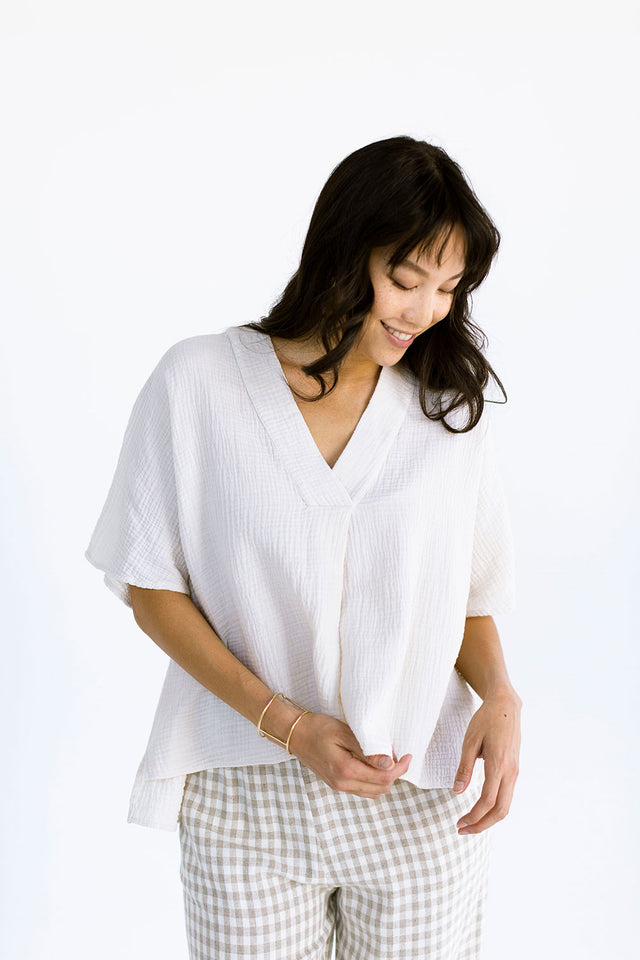 The Cropped Cocoon Top in Eggnog