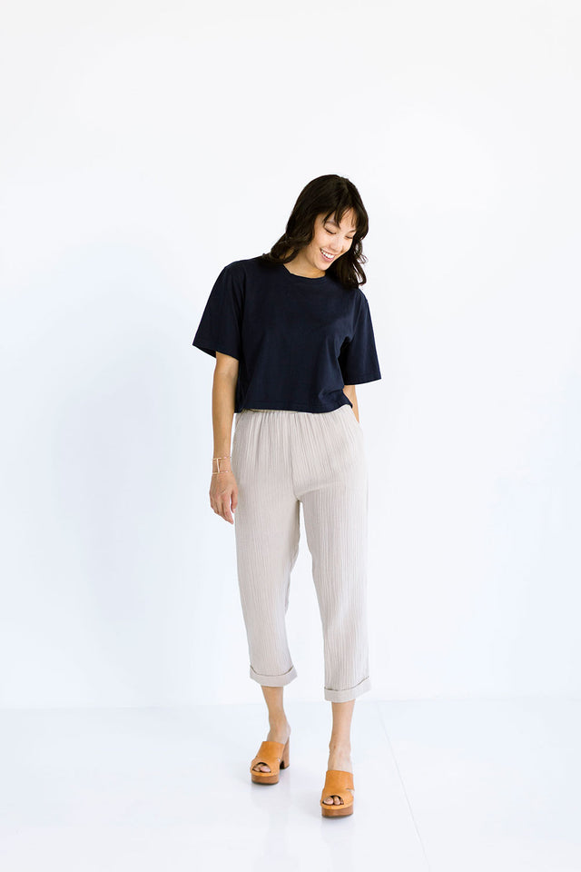 The Boxy Crop Tee in Dark Navy