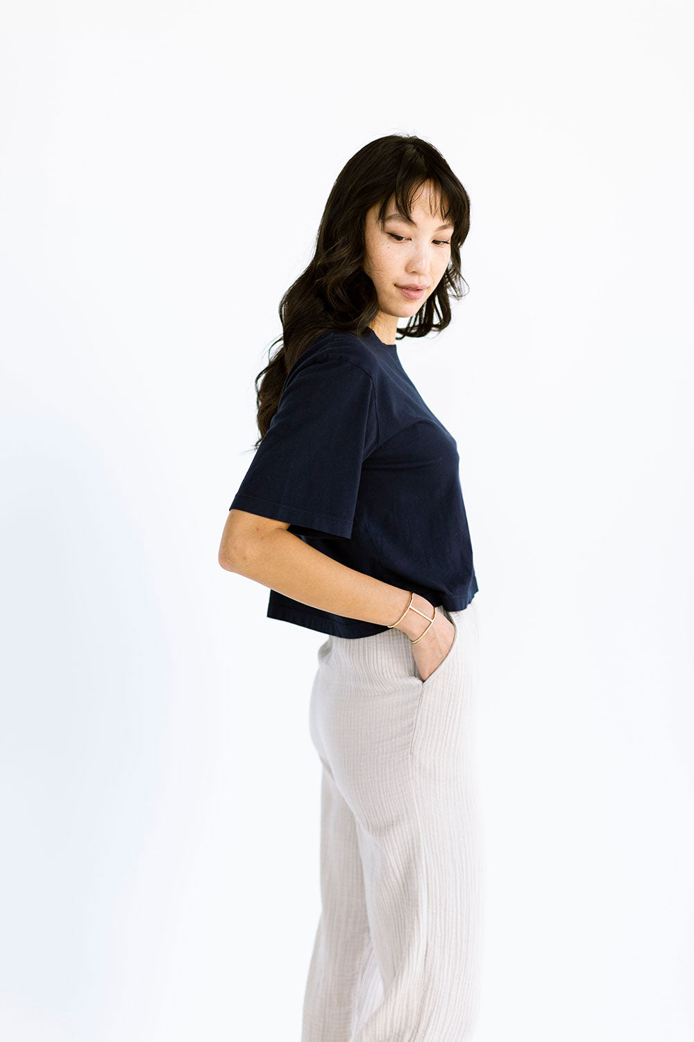 The Boxy Crop Tee in Dark Navy - FINAL SALE, LAST CHANCE