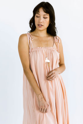 The Maxi Tie Dress in Pink Sand - FINAL SALE, LAST CHANCE