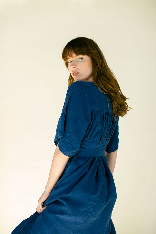 The Ema Dress in Blue Opal