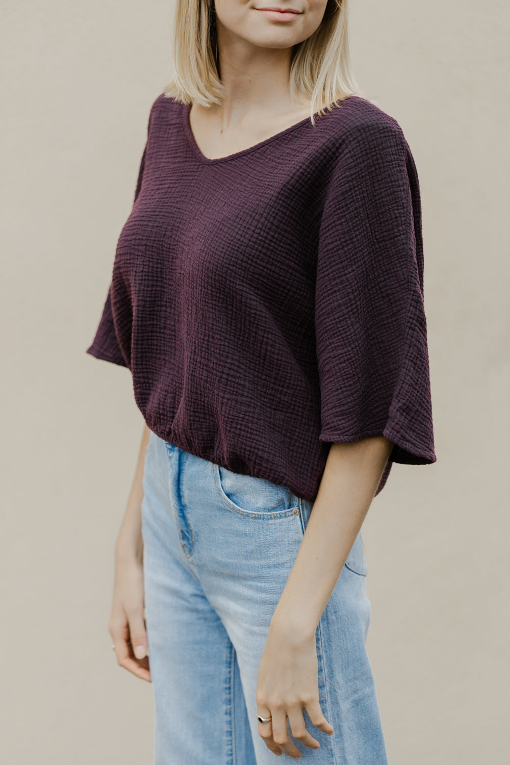 The Gauze Dolman Top in Eggplant