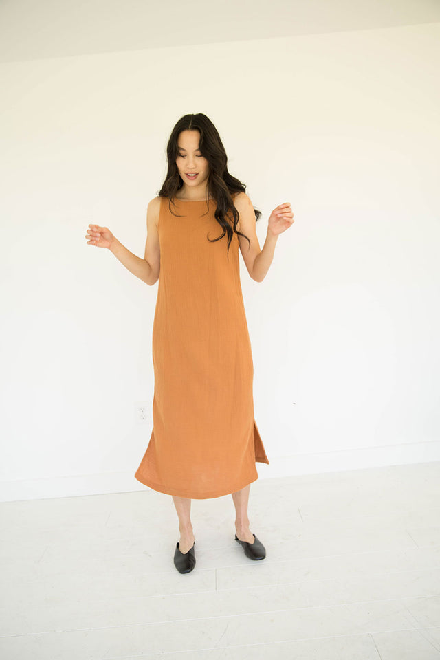 The Tank Gauze Dress in Meerkat