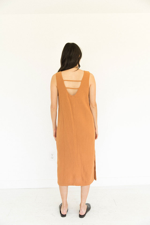 Tank Gauze Dress in Meerkat