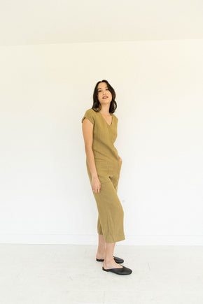 The Linen Jumpsuit in Fennel Seed