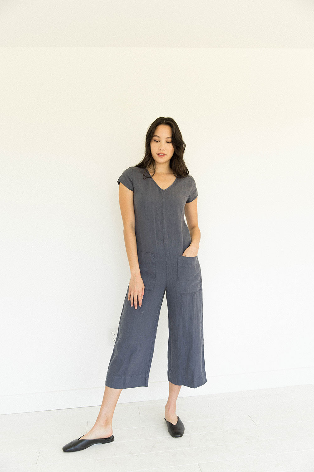 The Linen Jumpsuit in Mood Indigo
