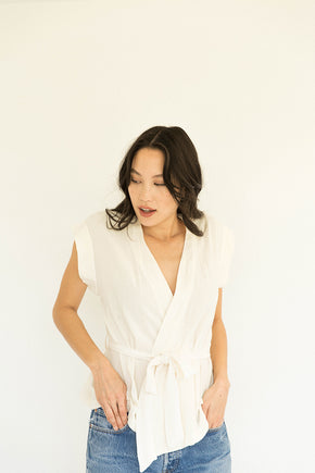 The Easy Wrap Top in Eggnog