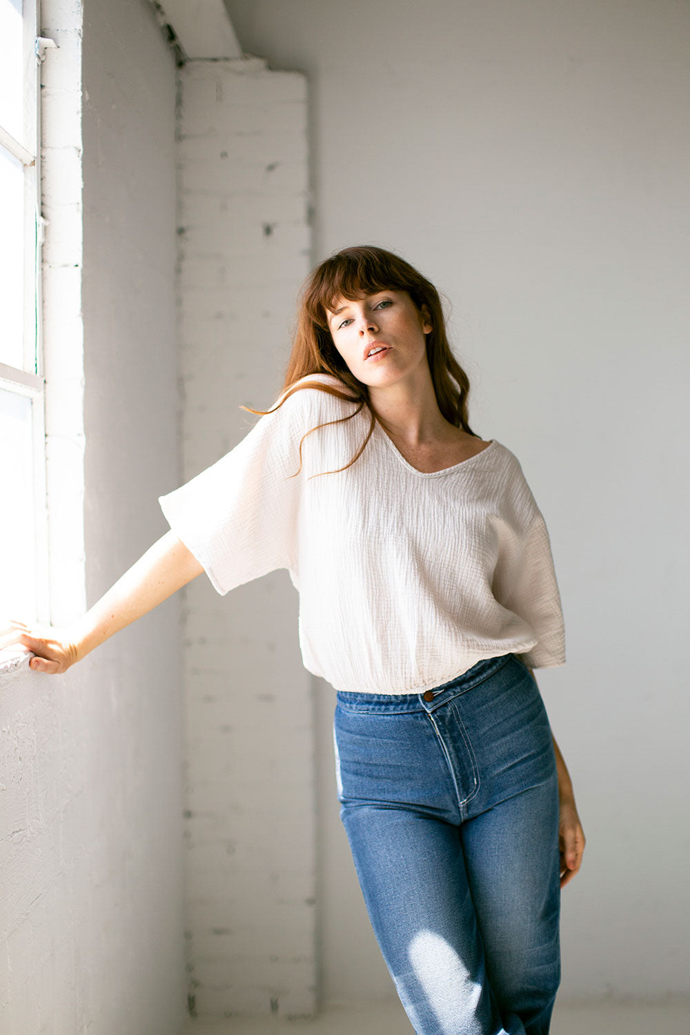 The Gauze Dolman Top in Parchment Paper