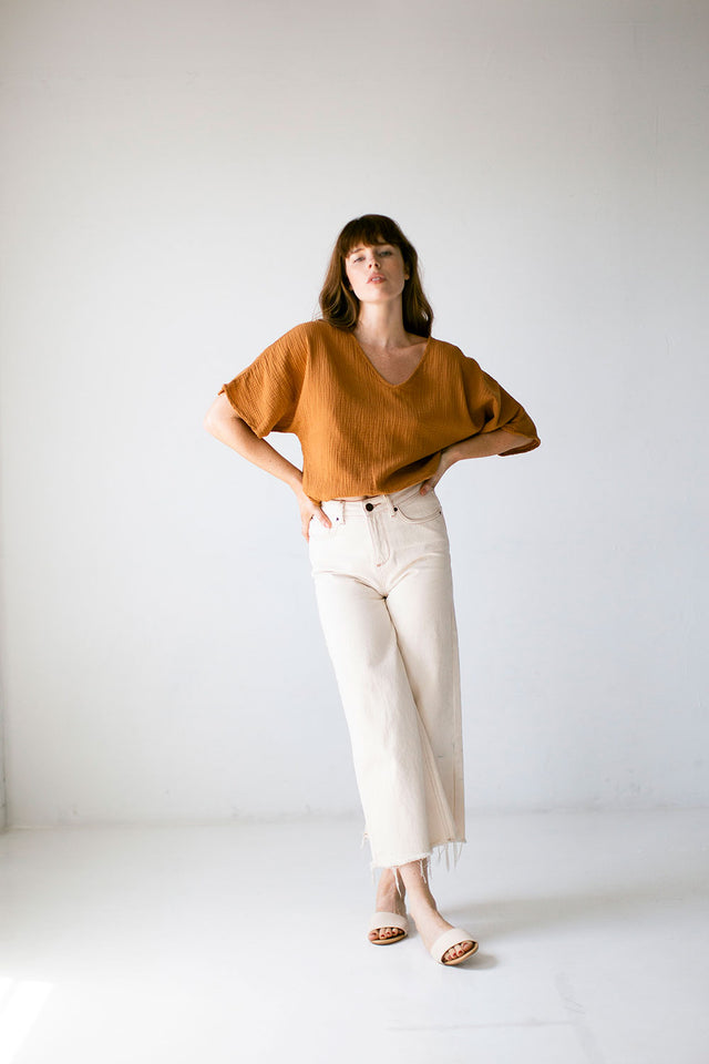The Gauze Dolman Top in Meerkat