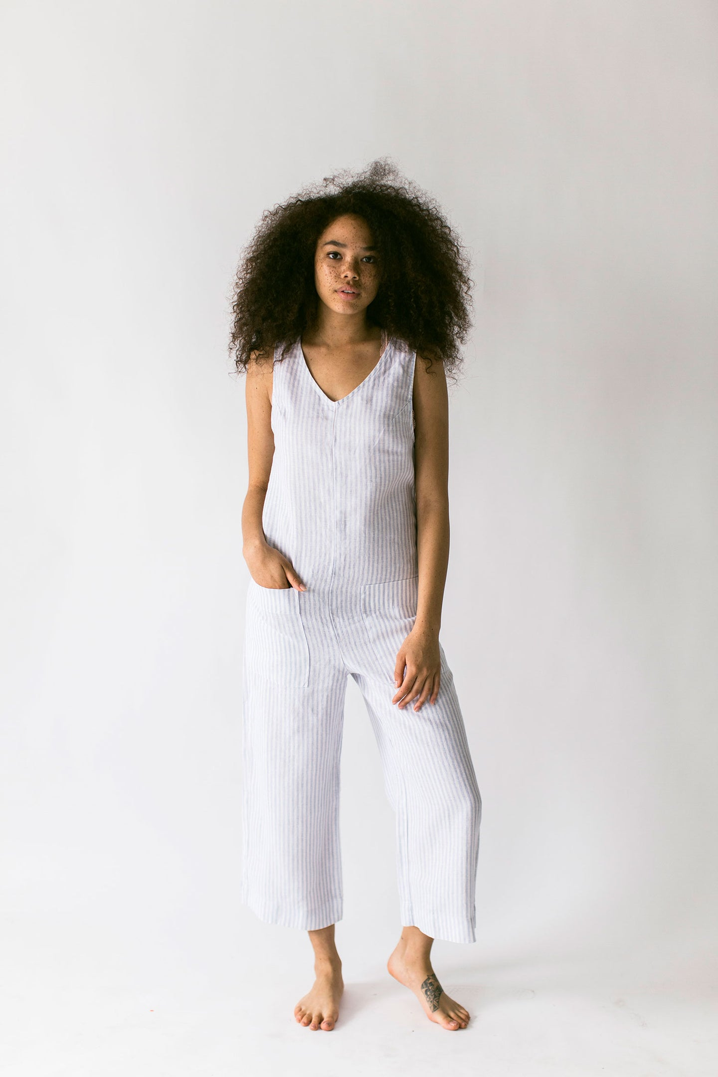 The Linen Jumpsuit in Gray Dawn Stripe (XL) - FINAL SALE, LAST CHANCE