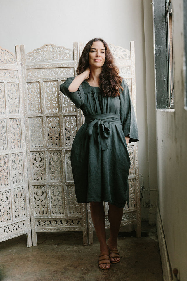 The Yoke Dress in Raven