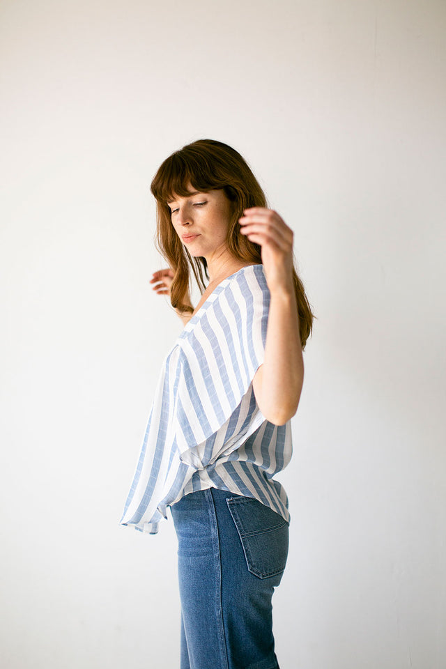 The Flutter Sleeve Top in Tencel Stripe