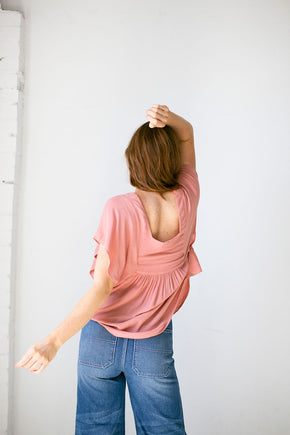 The Flutter Sleeve Top in Terra Cotta