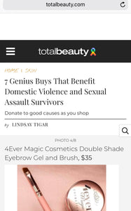 A feature on our eyebrow kit in Total Beauty on their article- products that benefits charities.