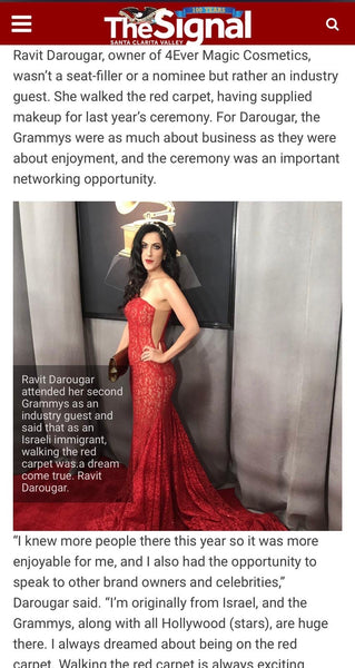 Our Founder Ravit Darougar has been featured  on the Signal Santa Clarita magazine for attending Grammys 2020