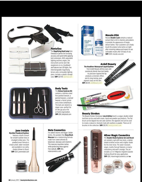 Our eyebrow kit has been featured on Beauty Store Business Magazine - January 2019.