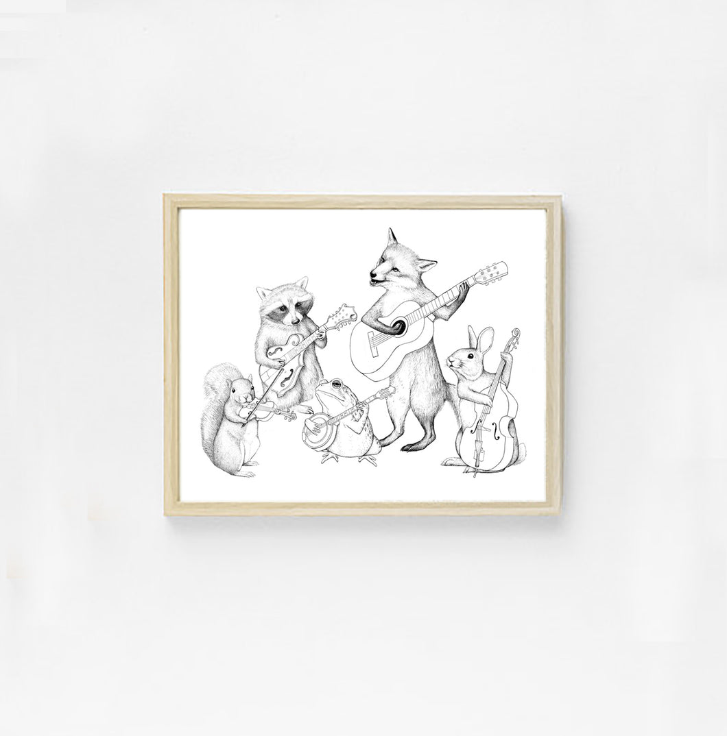 Bluegrass Critter Band Art Print.