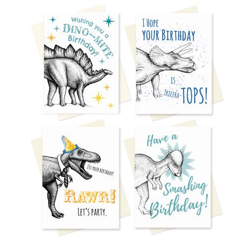 Set of 4 Dinosaur Birthday Cards.