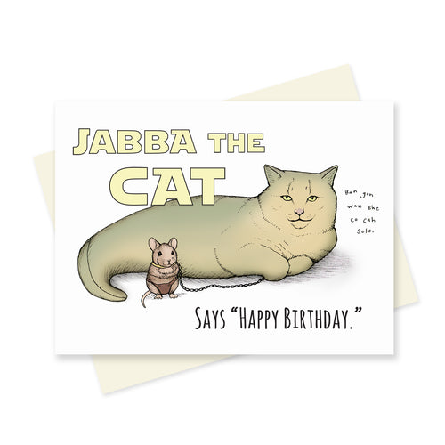 Jabba the Cat Birthday. A6 Card.
