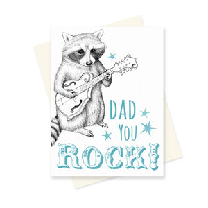 Dad You Rock Raccoon. A6 Card