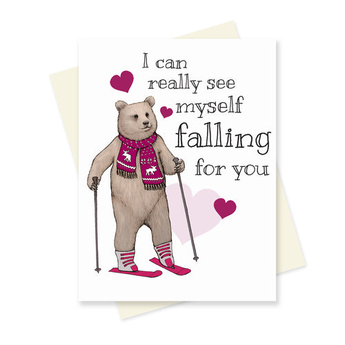 Falling for You Bear. A6 Card