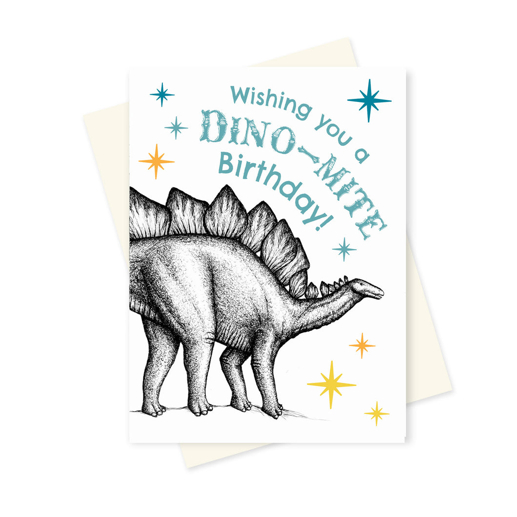 Stegosaurus Birthday. A6 Card