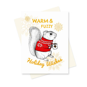 Squirrel Holiday Wishes. A6 Card