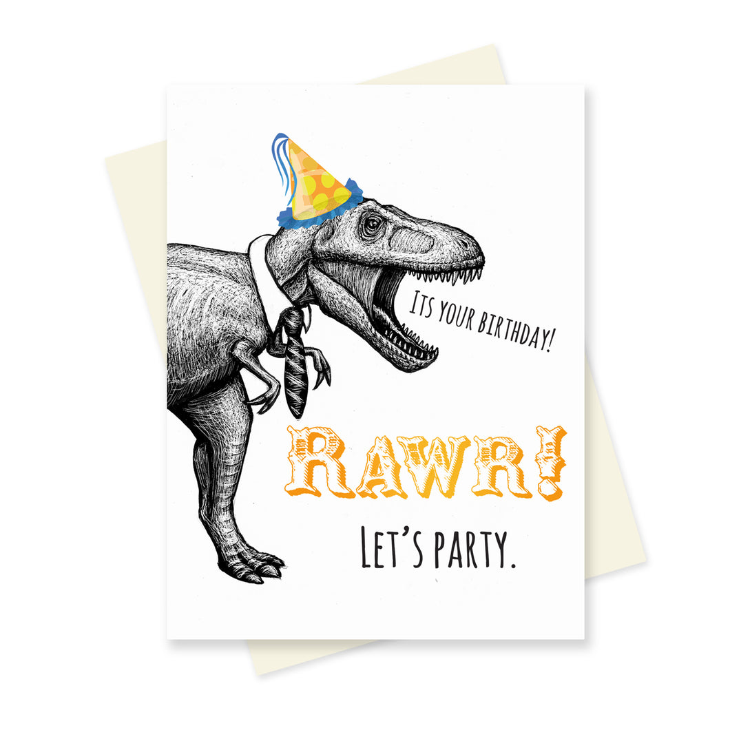 Rawr! Lets Party Birthday. A6 Card