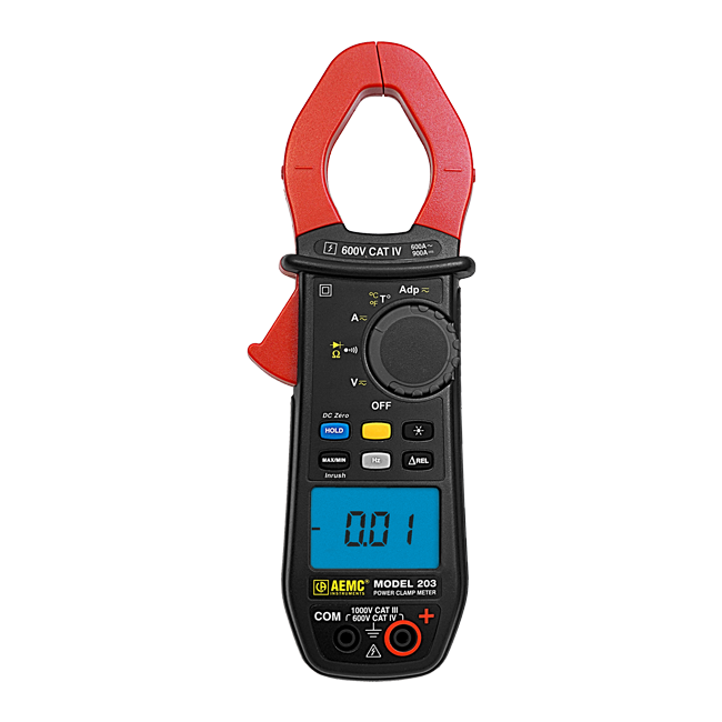 AEMC 203 True RMS Clamp Meter with Temperature, 600AAC/900ADC