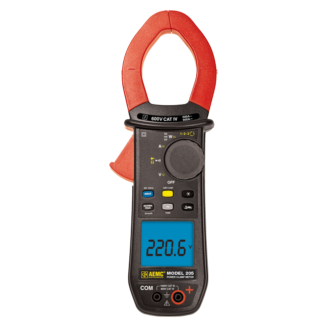 AEMC 205 True RMS Clamp Meter with Phase Rotation, 600AAC/900ADC