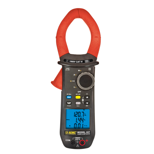 AEMC 407 Power Clamp Meter/Data Logger, 1000 V AC/DC, 1000 A AC/1500 A DC