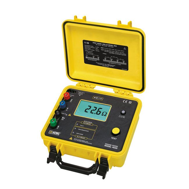 AEMC 4630 Rechargeable Ground Resistance Tester Kit, 4-Point, 300ft