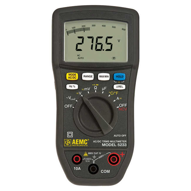 AEMC 5233 True RMS Multimeter with Non-Contact Voltage Detection and Temperature