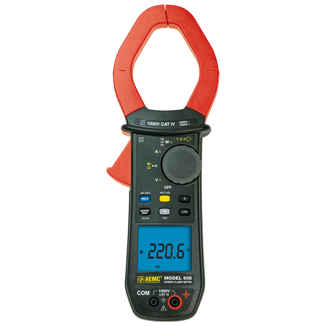 AEMC 605 True RMS Power Clamp Meter with Phase Rotation, 1000V AC/DC, 2000A AC/3000A DC