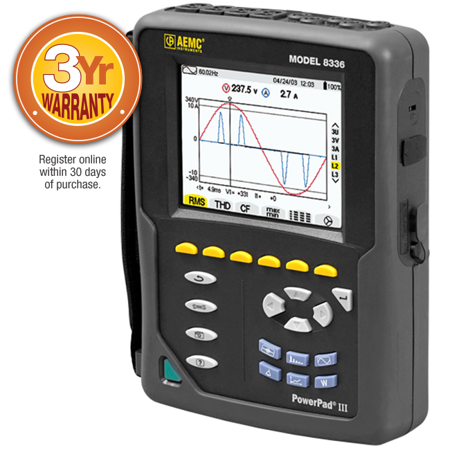 AEMC 8336 PowerPad III Power Quality Analyzer with AmpFlex Sensors, 24""