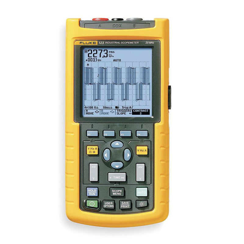 Fluke 123B Industrial ScopeMeter® Hand-Held Oscilloscope, 2 Channel, 20MHz