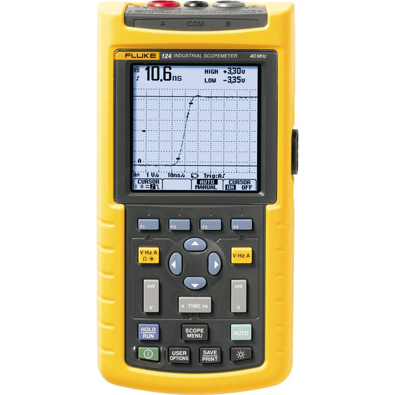 Fluke 124B Industrial Hand-Held ScopeMeter Oscilloscope, 2 Channel, 40 MHZ