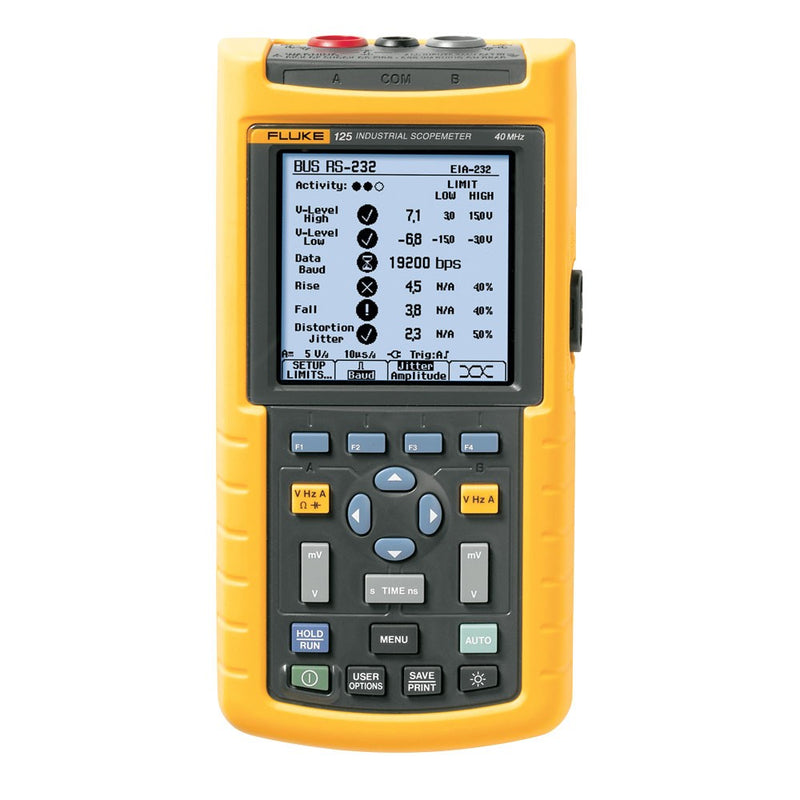 Fluke 125B Industrial ScopeMeter Hand-Held Oscilloscope, 2 Channel, 40 MHZ