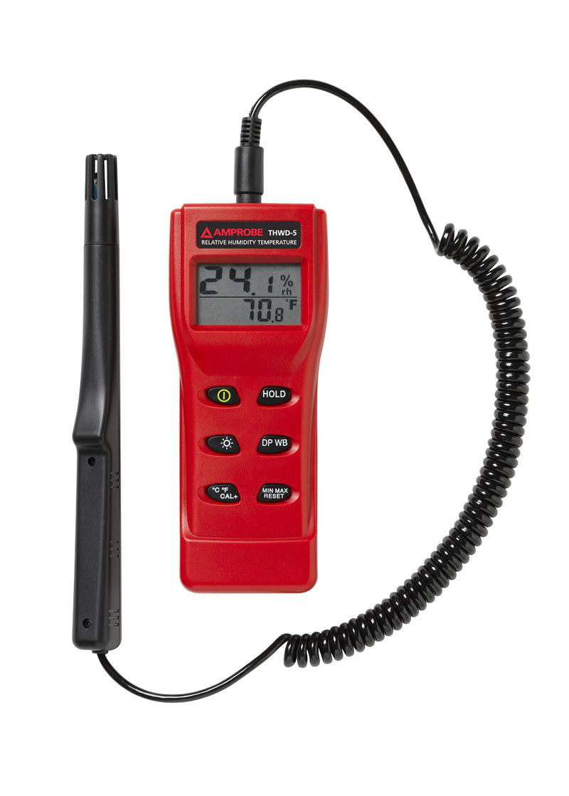 Amprobe THWD-5 Relative Humidity and Temperature Meter with Wet Bulb and Dew Point