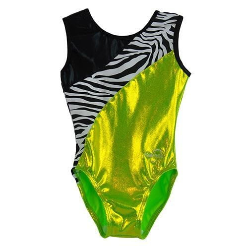 O3GL052 Obersee Girl's Girls Gymnastics Leotard - Lime Zebra - Obersee